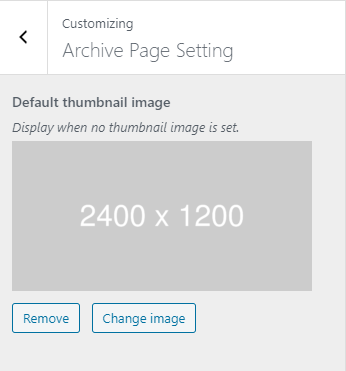 Customizer setting (Archive Page)